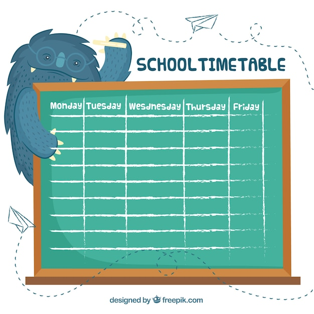 School timetable template with chalkboard and monster