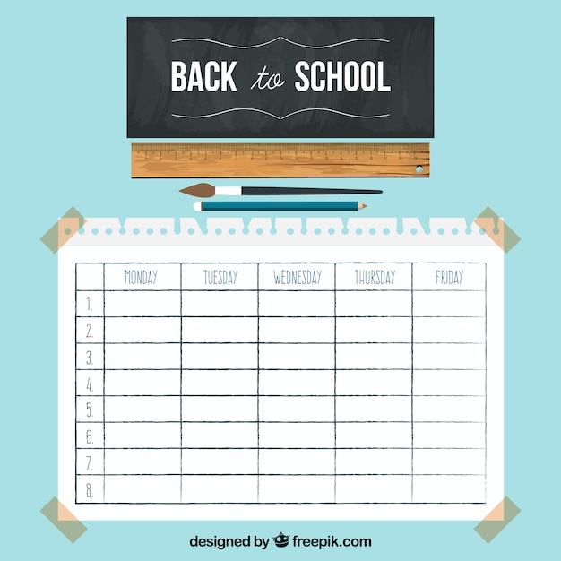 School Timetable Template With Chalkboard And Ruler Vector  Free