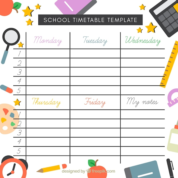 School Timetable Template With Elements In Flat Design Vector