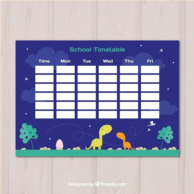 School timetable template with flat deign Free Vector