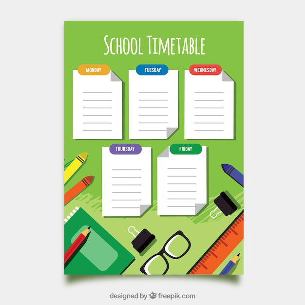 School timetable template with flat deisgn