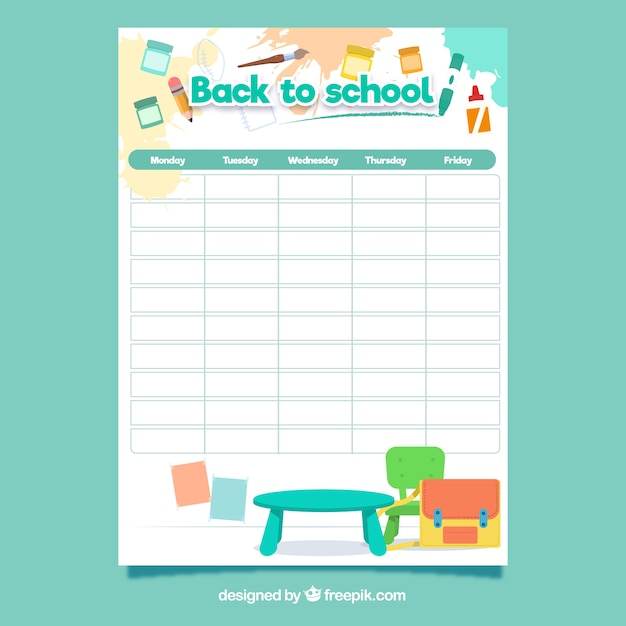 School timetable template with flat design Free Vector