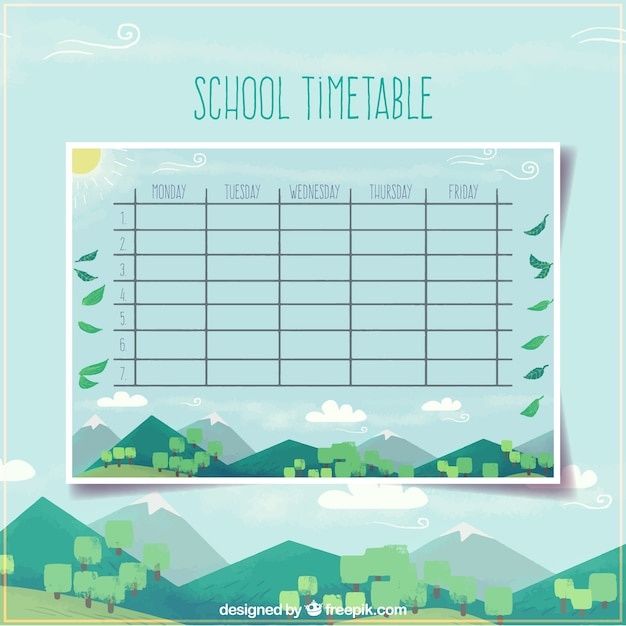 School Timetable Template With Modern Landscape Design Vector