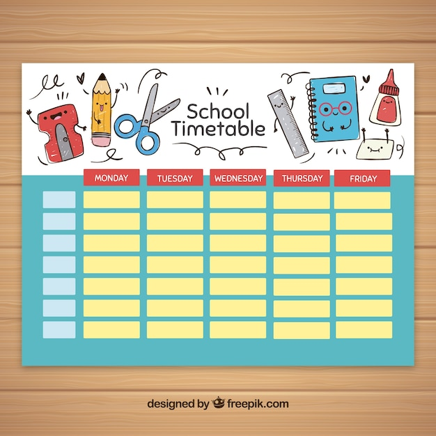 School Timetable Template With School Elements Vector  Free Download