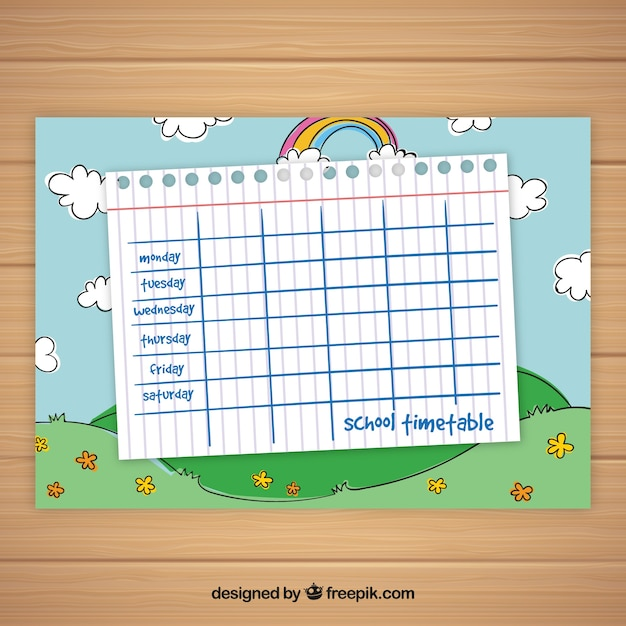 School Timetable Template With Sky And Rainbow Vector  Free Download