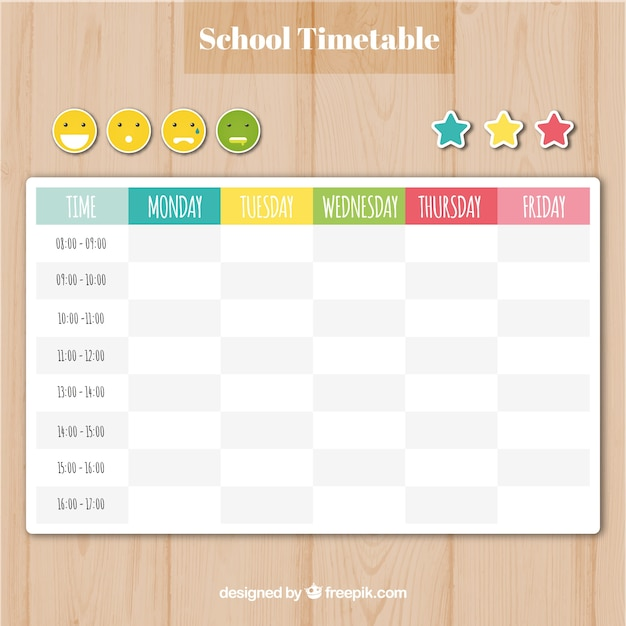 school timetable template with smilies and stars vector