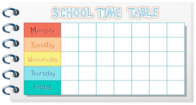 School timetable template Premium Vector