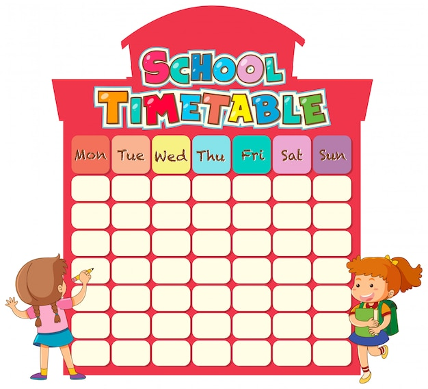 School timetable template Free Vector