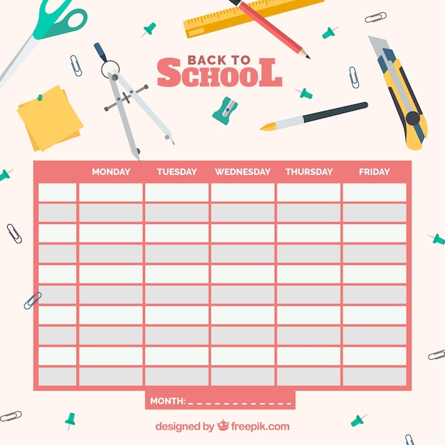 School Timetable Template Vector  Free Download