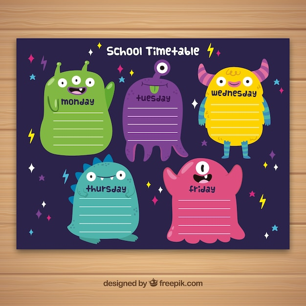 School timetable to organize Free Vector