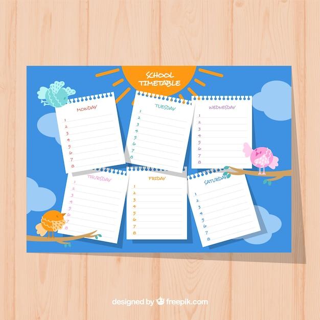 School timetable with birds, sun and sky