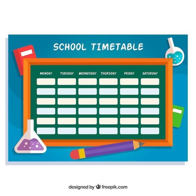 School timetable with blackboard