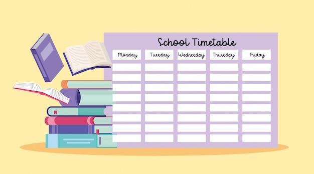 School timetable with books Premium Vector