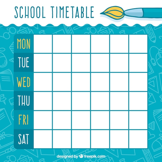 School timetable with brush