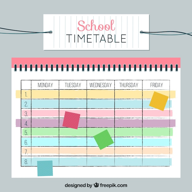 School timetable with colorful notes