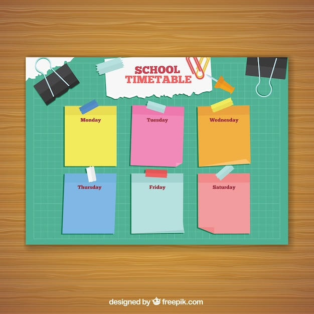 School timetable with colorful post its