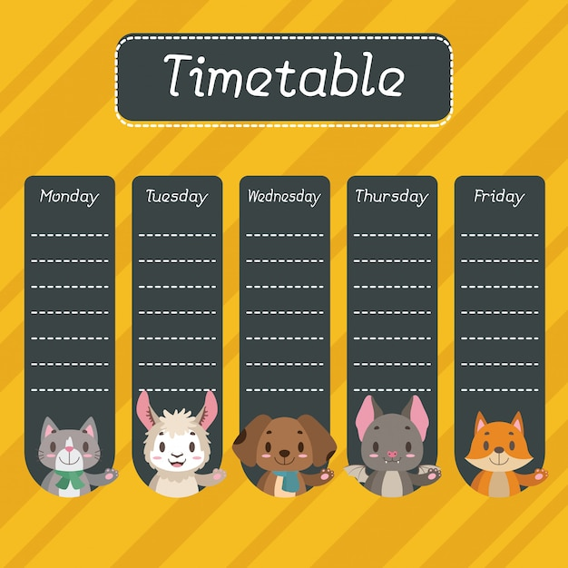 School timetable with cute animals Premium Vector