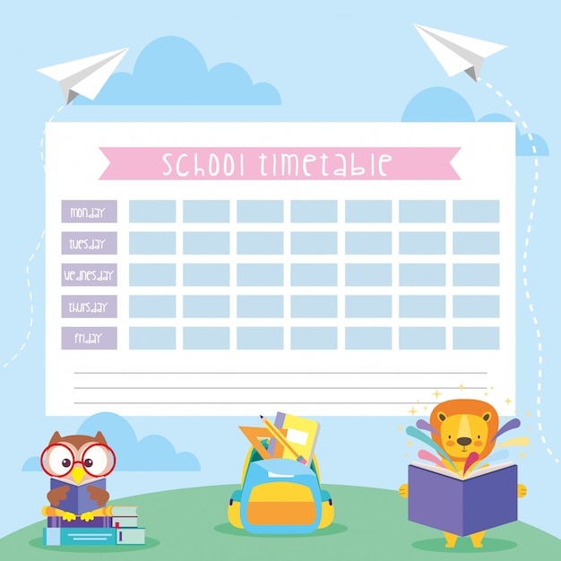 School timetable with cute animals Premium Vector