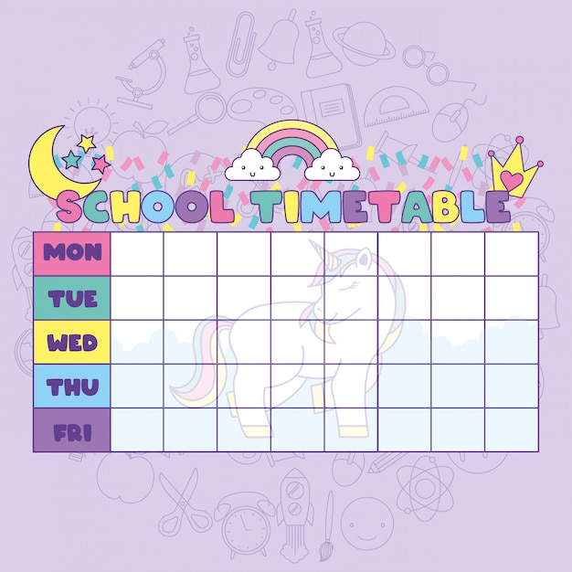 School timetable with cute fantasy universe Premium Vector