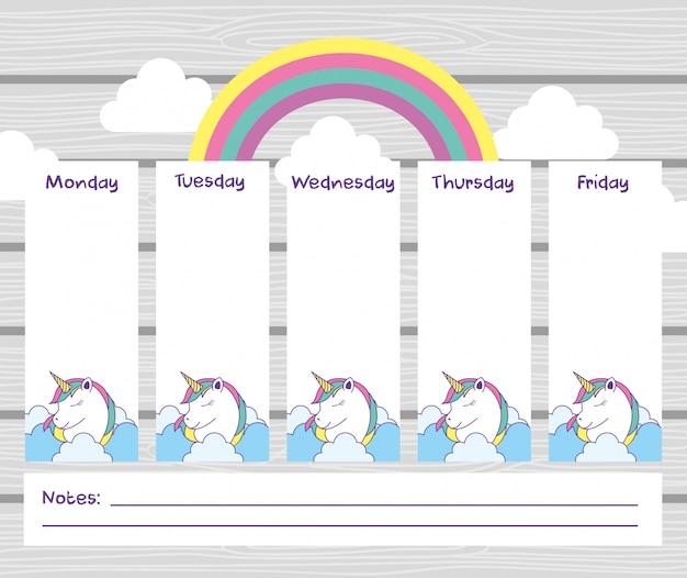School timetable with cute fantasy universe Premium Vector