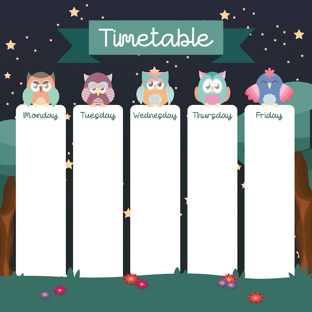 School timetable with cute owls Premium Vector