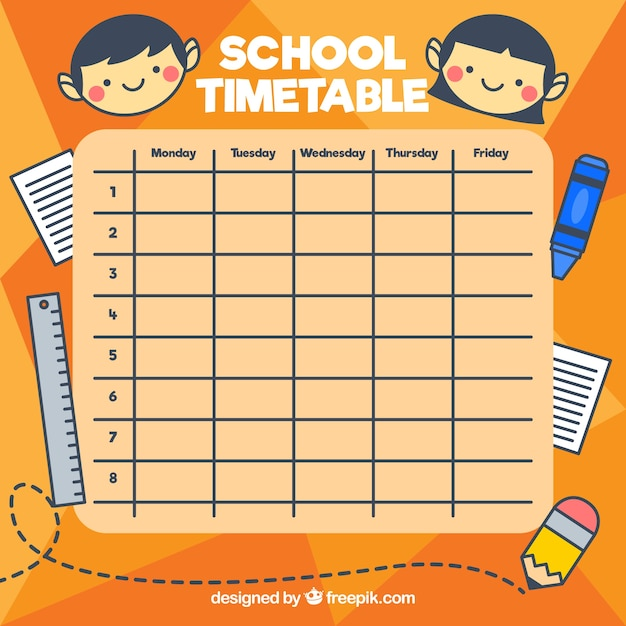 school timetable with elements and kids vector premium Mark Your Calendar Templates Mark Your Calendar Wording