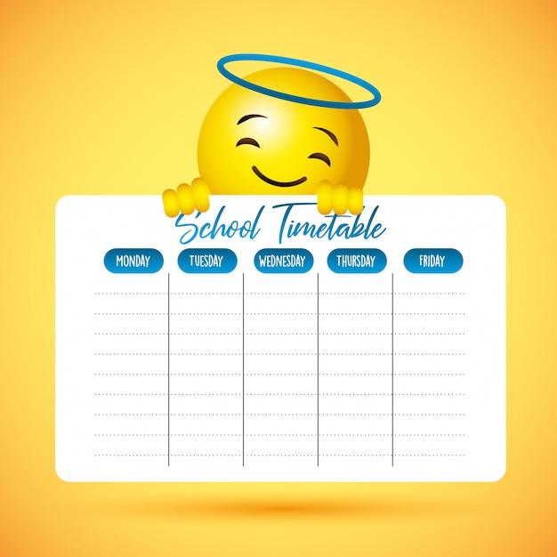 School timetable with emoji cute smile face Premium Vector
