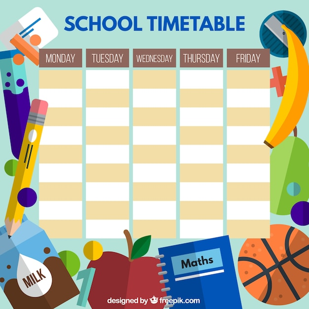 School timetable with flat student elements Vector – School Time Table Designs