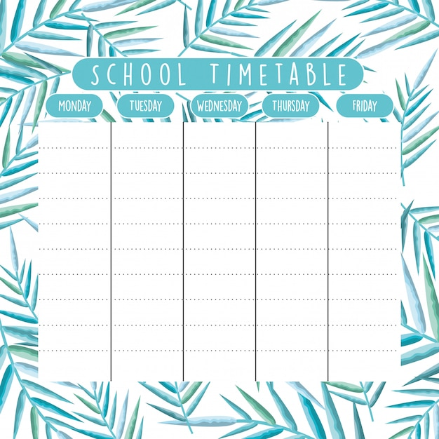 School timetable with foliage branches Premium Vector