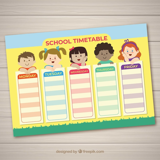 School timetable with kids Free Vector