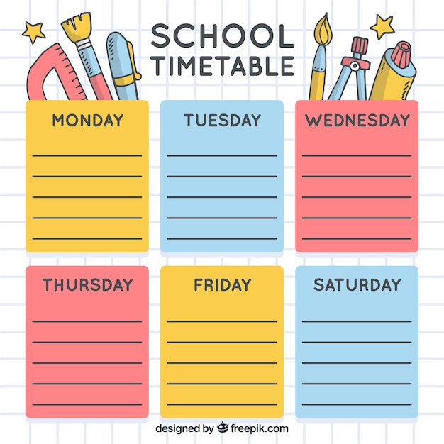 School timetable with material drawings