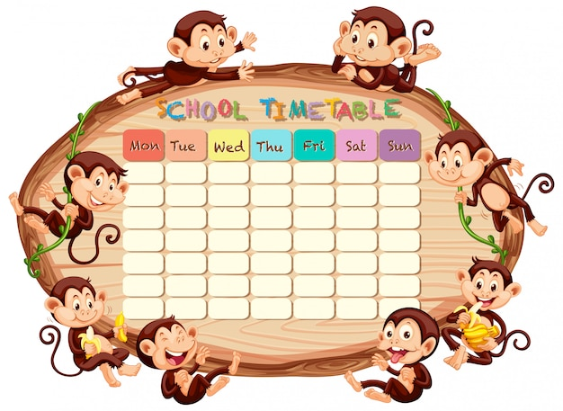 School timetable with monkeys Free Vector