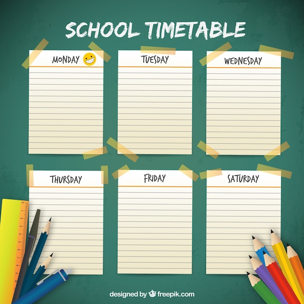 School timetable with notebook pages and materials