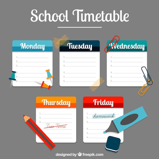 School timetable with notes and accessories