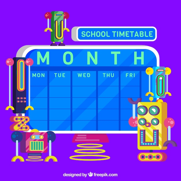 School timetable with robots