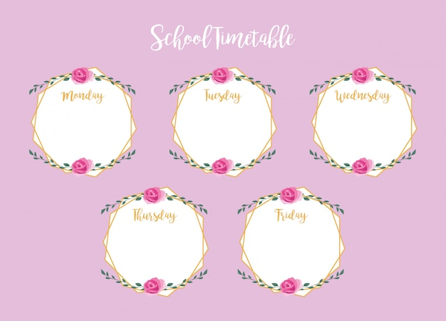 School timetable with roses and leaves Premium Vector