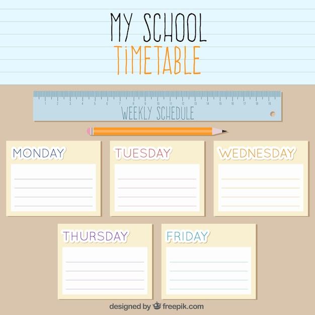 Orario scolastico con un righello e una matita Vettore gratuito
