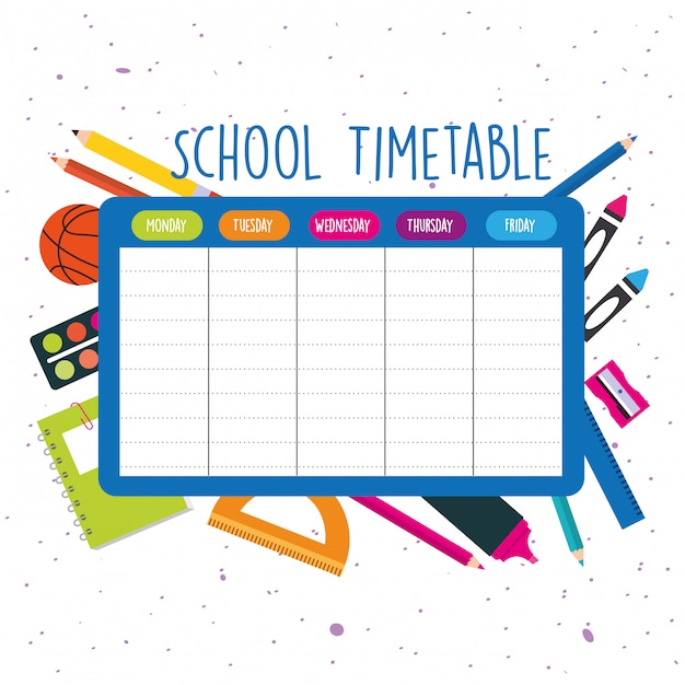 School timetable with school supplies Premium Vector