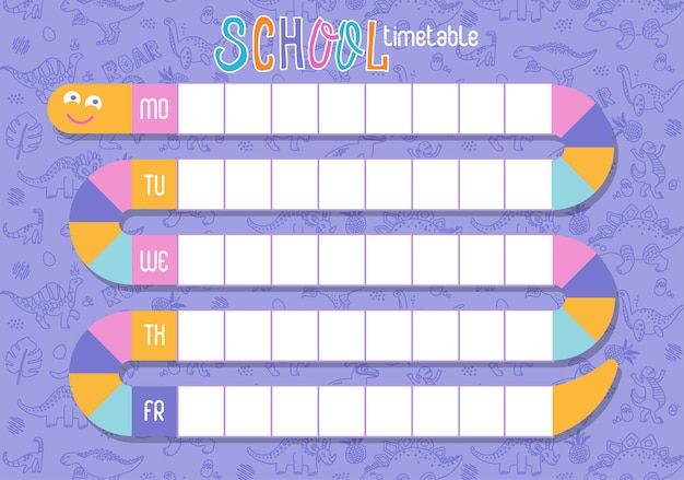 School timetable with snake shape. Premium Vector