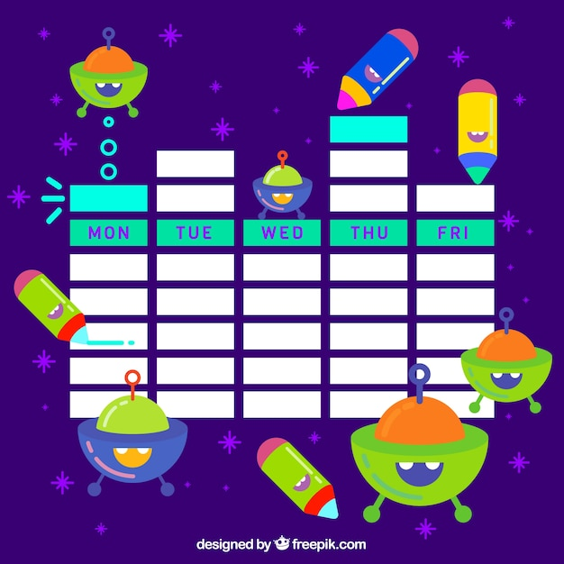 School timetable with spaceships