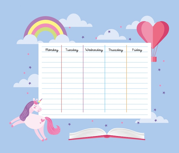 School timetable with unicorn and rainbow Premium Vector