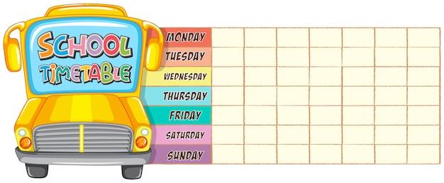 School timetable Free Vector