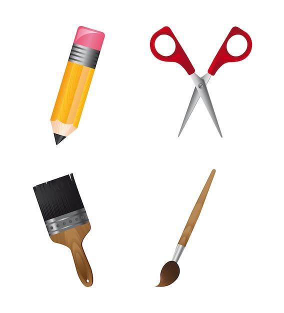 School tools isolated Premium Vector
