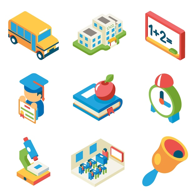 School, university and education isometric 3d flat icons. bus and building and microscope, diploma and bell, book and apple, Free Vector
