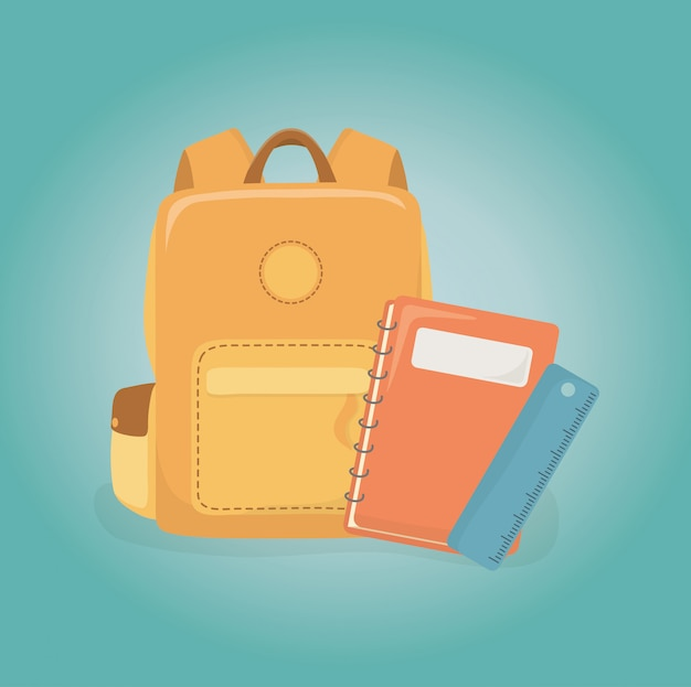 Schoolbag and supplies back to school Free Vector