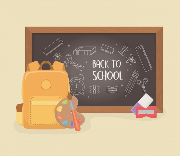 Schoolbag with chalkboard and supplies back to school Free Vector