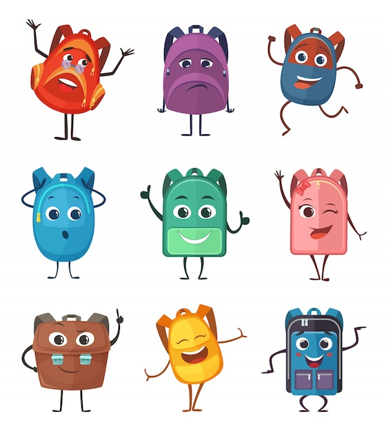 Schoolbags characters with different emotions. Premium Vector