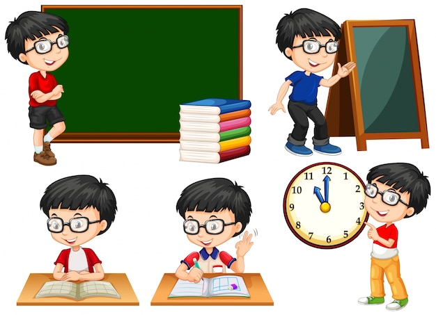 Schoolboy doing different actions at school illustration Free Vector