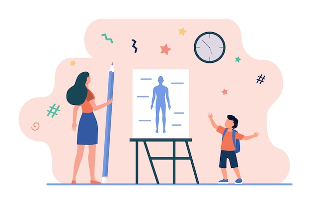 Schoolboy saying anatomy lesson. teacher with pencil, human body model on whiteboard flat vector illustration. school, class, education Free Vector