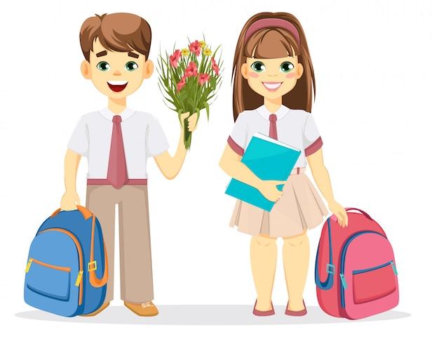 Schoolboy and schoolgirl with backpack Premium Vector